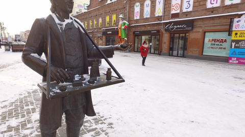 Sculpture merchant. Yekaterinburg, Russia Footage