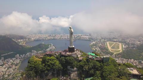 Cristo Redentor Christ The Redemeer. Aerial of Landmark of Rio De Janeiro Brazil Acción en vivo
