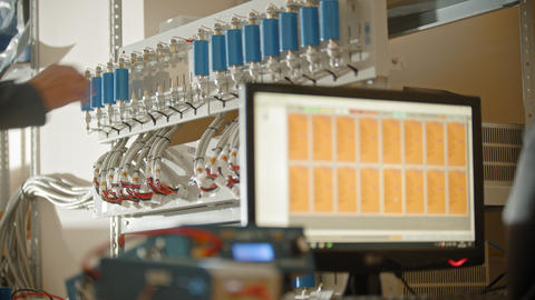 Production plant - the production of li-ion batteries - putting the batteries on Live Action