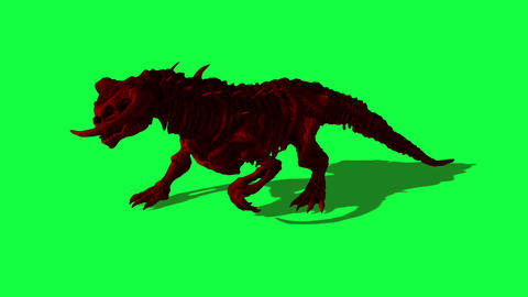 3d animation of mythical beast animal is running on green screen Animation