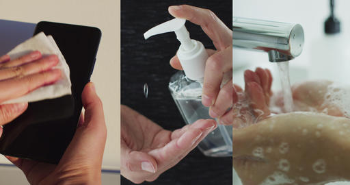 Washing hands, using hand sanitizer and cleaning and disinfection of phone for Live Action