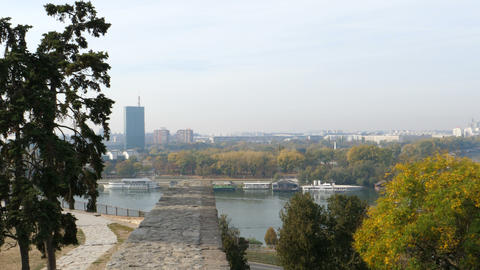 Panorama of Belgrade Lower Town from Fortress with Sava and Usce Tower Acción en vivo
