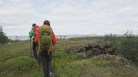 People hiking in nature living active lifestyle Acción en vivo