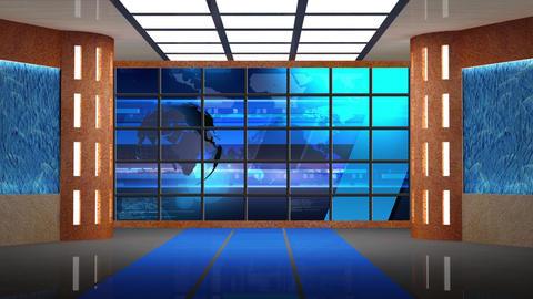 News TV Studio Set 233- Virtual Background Loop Footage