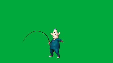 Chubby Boss Man with Whip: Looping + Matte Animation
