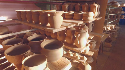 Drying the pottery before firing Footage