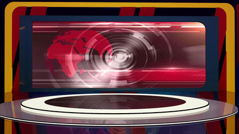 News TV Studio Set 224- Virtual Background Loop Footage