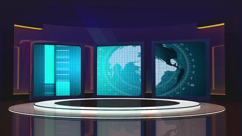 News TV Studio Set 225- Virtual Background Loop Footage