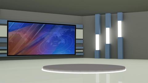 News TV Studio Set 228- Virtual Background Loop Footage