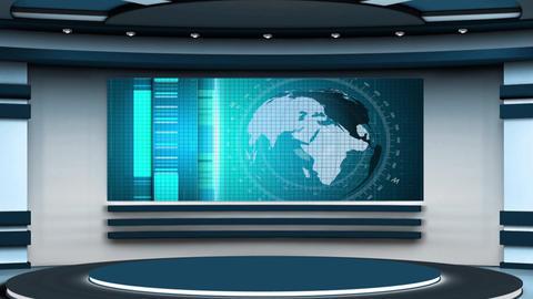 News TV Studio Set 230- Virtual Background Loop Live Action