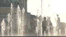 The fountain in which children play in summer Footage
