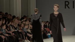 Models on the catwalk. Fashion week. Fashion show. Slow motion Footage