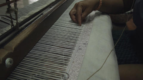 Oriental Ethnic Tribe - Traditional Handmade Textile Weaving Footage