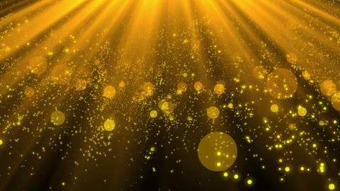 Gold particles shining toward the sky Animation