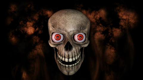 Human Skull With Eyes Laughing And Moving Towards Camera With Smoke And Fire In  Animation