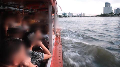 Boat transport on river Footage