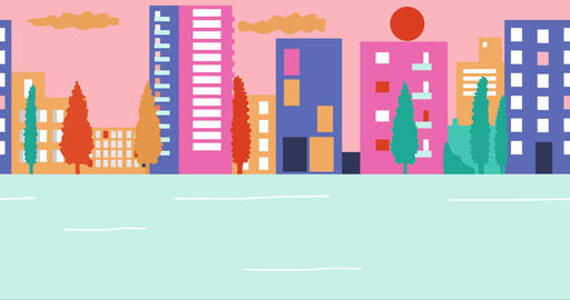 Empty streets in city during summer sunset. Outbreak Coronavirus in city Animation