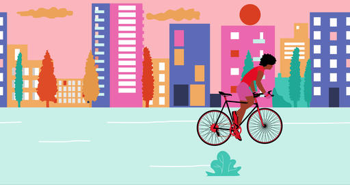 African American woman cyclists is riding bicycle in the summer empty city Animation