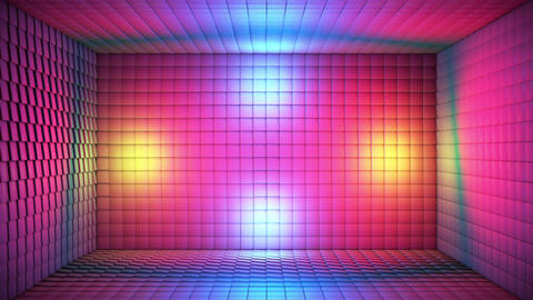 Broadcast Pulsating Hi-Tech Cubes Room Stage, Multi Color, Events, 3D, Loopable, HD 애니메이션