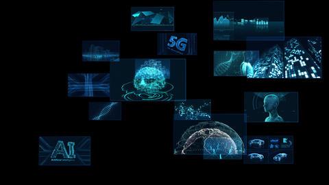 Digital Network Technology AI 5G data communication concepts background F Rotate2 A Sozai Animation
