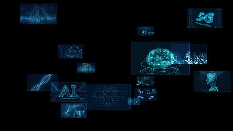 Digital Network Technology AI 5G data communication concepts background F Rotate2 C Sozai Animation