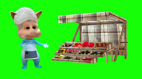 870 4K TRADE AUTUM MARKET 3D computer generated TOON PIGGY try sell on market his vegetables Animation