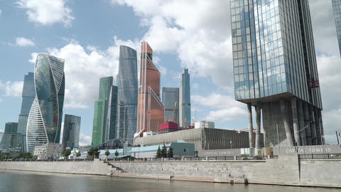 View of the skyscrapers of Moscow City from a pleasure boat Live Action