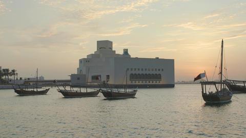 Museum of Islamic Art in Doha, Qatar exterior sunset shot Live Action