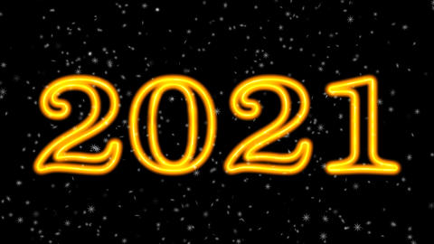 Happy new year 2021 sparkling year lettering Animation