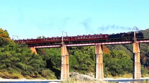 Steam locomotive and Arakawa line descent Footage
