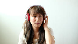 woman with headphones listen to the music Footage