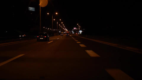 Slow driving on a highway. Night. Some cars. h264 50fps Footage