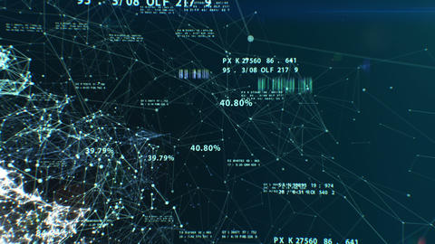 3d animation of the Abstract Global Business Network with Flying Numbers, Dots a Animation