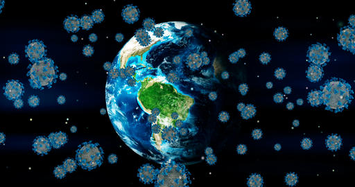 3D rendering animation, coronavirus cells covid-19 influenza flowing on earth background as Live Action