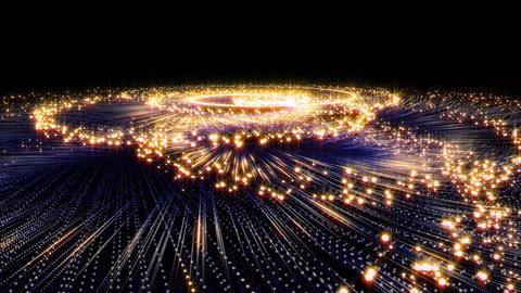 渦を巻いて上昇する金色の流れ星キラキラパーティクル CG動画