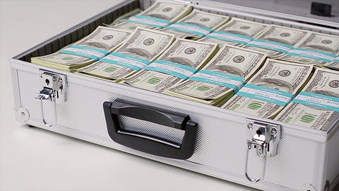 Official stealing money corruption in business suitcase with money american dollars Live Action