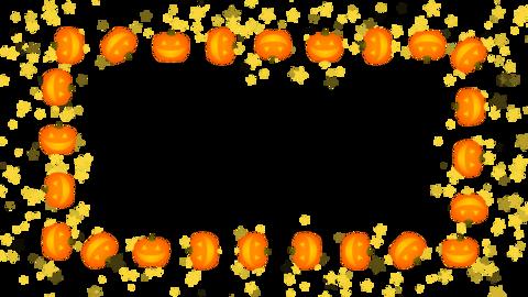 Pumpkin frame on transparent background, noise texture Animation