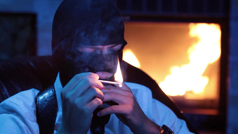 Terrorist get a light a cigar criminal in the mask Live Action