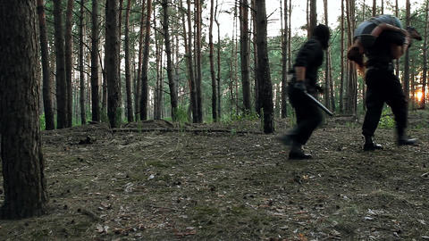 Terrorists carry away the related victim abduction of the girl in the forest Live Action