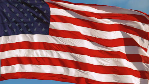 American Flag Slow motion Waving, Close Up Video Live Action