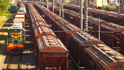 Cargo freight trains depot train freight transportation platform Live Action
