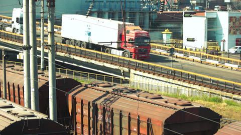 Cargo train platform with freight train containers transport Live Action