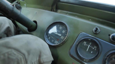 Tachometer in old car dashboard on a retro car Live Action