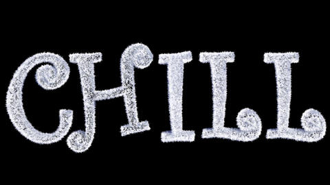 Ice Text forming with frost and a separate alpha channel spelling Chill Animation