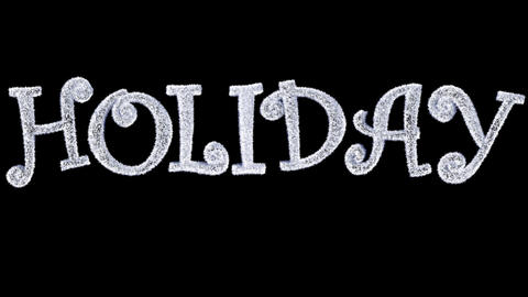 Ice Text forming with frost and a separate alpha channel spelling Holiday Animation