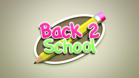 Animated closeup text Back to School and closeup of kids background with colourful pencil, school Animation