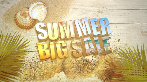 Animated closeup text Summer Big Sale and sandy beach with sandal on seashells, summer background Animation