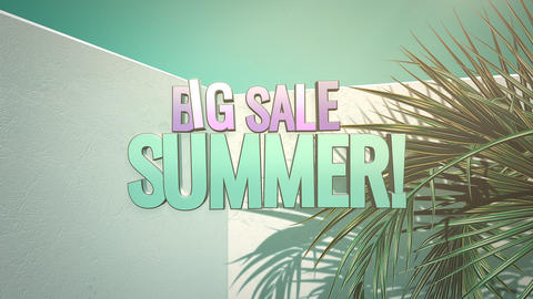 Animated closeup text Summer Big Sale and tropical palm trees, summer background Animation