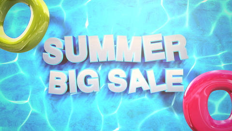 Animated closeup text Summer Big Sale and water waves in pool, summer background Animation