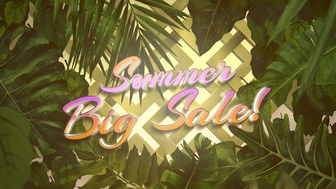 Animated closeup text Summer Big Sale and tropical flowers and leaf, summer background Animation